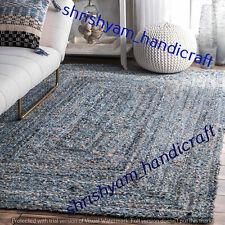 Indian Braided Jute Handmade Floor Rug Reversible Floor Rugs Denim Area Rugs Rag