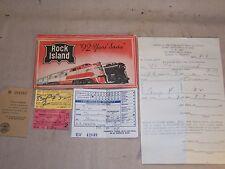 Vintage Rock Island Railroad Lot Tickets Envelope Pullman Check 1944 WWII Lt.