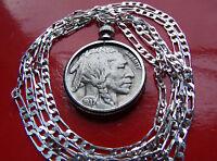 """Original PRE 1937 Fine Grade BUFFALO Nickel on a  30"""" 925 Sterling Silver Chain"""
