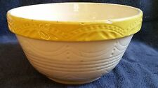 Antique RRP Roseville Pottery Stoneware Gingerbread Yellow rim Mixing Bowl 410-9