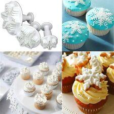 3pcs Snowflake Fondant Cake Decorating Sugarcraft Cutter Plunger Mold Mould C1