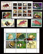 TOUS PAYS  2 blocs et timbres : les varietés de poissons d'aquarium et mer SP123