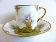 SUPERB ANTIQUE LIMOGES PORCELAIN CUP & SAUCER w. GOLD 1890's ( 12 AVAIL )