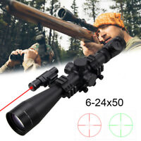 6-24x50mm Mil Dot Reticle Duplex Rifle Scope HD Glass with Red Green Laser Sight
