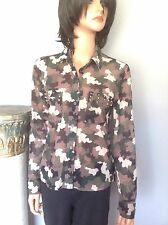 Blouse Shirt Army Military Camouflage Sheer Hot & Delicious M Studs Hip Fashion