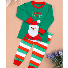 2-6Y Baby Kids Christmas Gift Santa Claus Suit Set Pajamas Pyjamas Sleepwear New