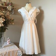 PERCEPTIONS NEW YORK  Women's WHITE Cap Sleeve A LINE Cotton DRESS SZ 10 NWT