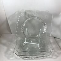Set of 4 Clear Etched Floral Glass 7-1/2 Square Plates