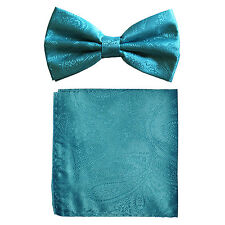 New formal men's pre tied Bow tie & hankie set paisley pattern turquoise blue