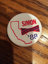 Paul Simon of Illinois1988 for President California Pinback Buttons RED
