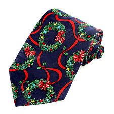 Christmas Wreath Mens Necktie Xmas Neck Tie Holiday Ribbons Bow Blue Gift New