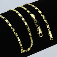 "18K Yellow Gold Plated Flat Curb 2mm Necklace Chain Length 16""18""20""22""24""26""28"""