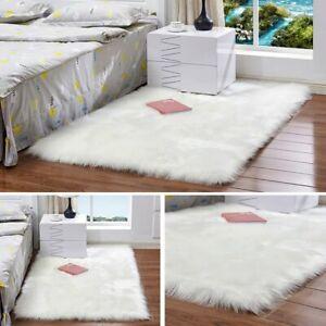 Faux Sheepskin Fur Area Rugs Hairy Carpet Floor Home Decor White Various Size 1p