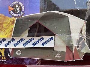 Vtg Hillary Camping Tent Canvas 11x11 70s Sears w Box Sir Edmund 5-6 Person