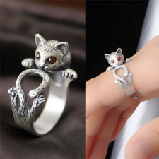 Women Boho Vintage Rewelry Kitty Cat Ring Animal Accessory Adjustable Knuckle