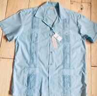 NWT Silver Crest Guayabera Embroidered Shirt Mens XXL Powder Blue FREE SHIPPING!