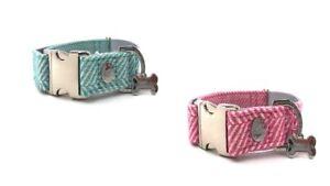 Hugo & Hudson Herringbone Adjustable Dog Puppy Collar - Pink/Aqua - XS/S/M/L