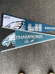 Lot Of 2 Philadelphia Eagles Pennants Super Bowl Champions nice lot!