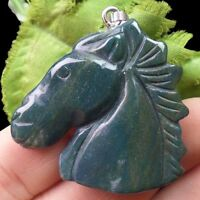 W0065050 Beautiful Carved Indian Agate Horse's Head Pendant Bead