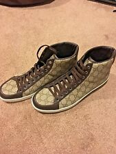 Gucci Men's Brown Leather and Canvas High Top Sneakers *new!