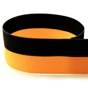 """1-3/8"""" Black / Yellow Gold Bi-Stripe Grosgrain Ribbon"""