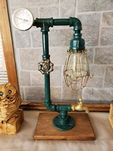 Retro Industrial style Home ,Desk,table lamp with on/off valve, Temp gauge