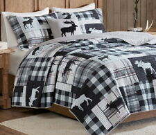 Moose Cabin * King * Quilt Set : Black Gray Buffalo Check Lodge White Plaid