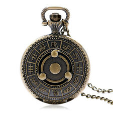 Vintage Retro Bronze Compass Quartz Pocket Watch Pendent Necklace Clamshell Gift