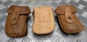 Genuine Vintage Military Issued Brown/Tan Leather Ammo Small Pouch Used
