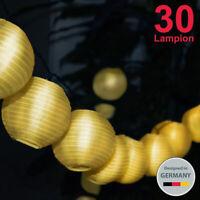30 LED Lichterkette Solar Außen Lichter Lampion Batterie Beleuchtung Garten IP44