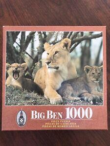 Big Ben Jigsaw Puzzle 1000 Piece Complete Lion Lair Hasbro Milton Bradley