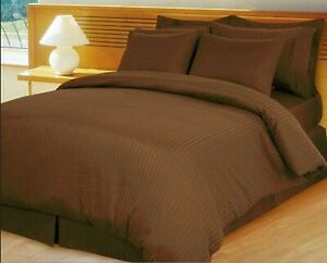 Egyptian Cotton Glamorous Chocolate Sheet Collection Striped Select Item & Size