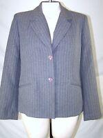 Alfred Dunner Gray Grey Long Sleeve V-Neck Button Blazer Womens Size 10 Medium
