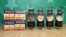 Matched Quad Sylvania (Philco label) Type 45 NOS NIB Vacuum Tubes
