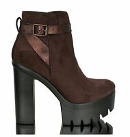 Stiefel Ankle Boots Stiefeletten High Heels Hoher Absatz Chunky Plateau Braun 39