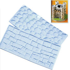 2PCS Stone Brick Wall Edge Cake Decoration Mold Fondant Baking Tool WHT