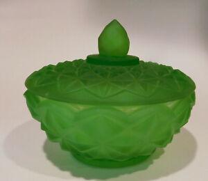 Mid Century Modern Green Satin Glass Covered Candy Dish