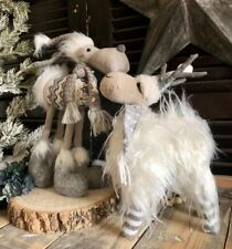 Scandi Style Standing Reindeer with Scarf Winter Woodland Christmas Decoration