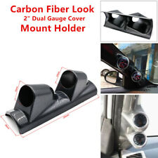 "Carbon Fiber Surface 2"" Dual Gauge Cover Meter Mounting Holder ABS Car SUV Truck"
