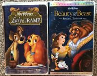 Walt Disney's Lady And The Tramp & Beauty And The Beast - Lot of 2 VHS Movies