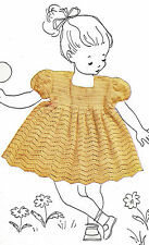 Vintage Crochet PATTERN to make Baby Toddler Lace Dress Size 1 & 2 Puff Sleeves