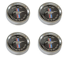 NEW! 1964-1967 Mustang Style Steel Wheel Hub Caps Set of 4 Black Center See Pic