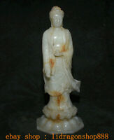 "11,6 ""Ancien Tibet Blanc Jade Sculpté Sakyamuni Tathagata Bouddha Lotus Statue"