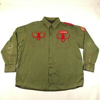 COOGI Button Down Shirt Mens 3XL Army Drab Green Patches Snaps Military Cotton
