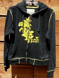 Troy Lee Designs Women's Sz L Zip Hoody Jacket Black Yellow Flowers  #V-26