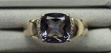 QVC 9ct Gold Iolite and Diamond Ring Size N