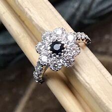 Natural Blue Sapphire 925 Solid Sterling Silver Designer Flower Ring 9