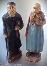 Old European Couple FIGURINES WOODEN Hand Painted VERY OLD 5 3/4""