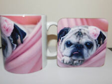 Pug in Pink Blanket Mug and Coaster Set