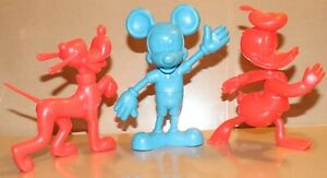 1970's Marx Toys Disney Mickey Mouse Donald Duck & Pluto 1 Colour Toys